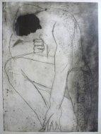- Zonder titel, 1997<br />Drogenaald en aquatint<br />Beeld 59 x 44 cm, blad 90 x 64 cm, ingelijst<br />EUR 350.00<br />